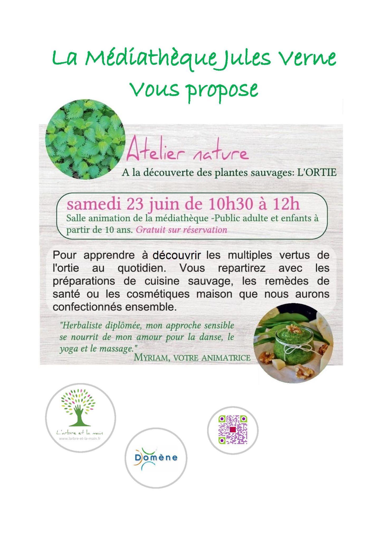 """Affiche A3 Atelier nature Ortie 2 page 001 - Atelier """"Ode à l'Ortie"""" à la médiathèque de Domène le 23 juin"""